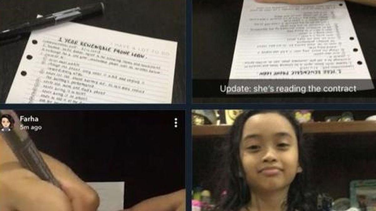 Niña recibe un iPhone por parte de sus padres después de firmar un contrato
