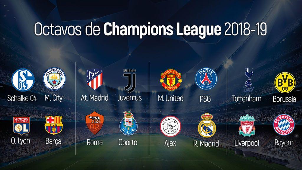 Octavos de Champions: Ajax-Real Madrid, Atlético-Juventus y Olympique de Lyon-Barça