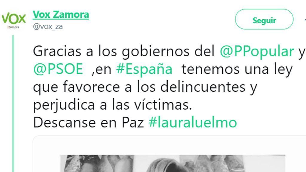 Vox Zamora culpa a una ley blanda los casos Laura Luelmo y las redes sociales estallan