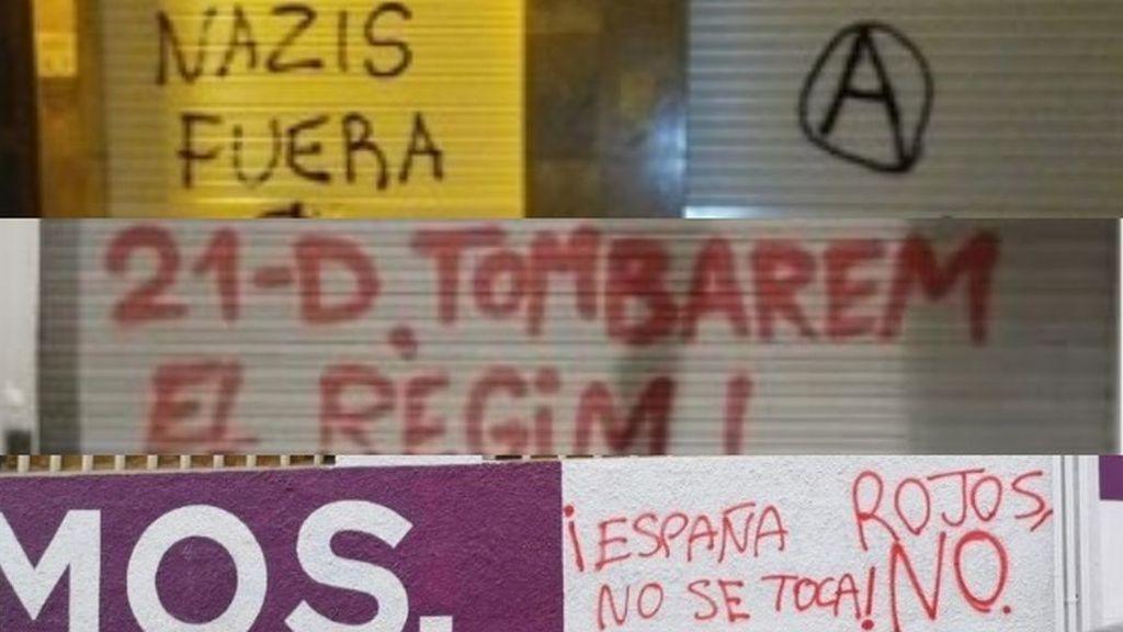 Las pintadas amenazan las sedes de los partidos al grito de 'Nazis fuera', 'Tumbemos el régimen' o 'Rojos No'
