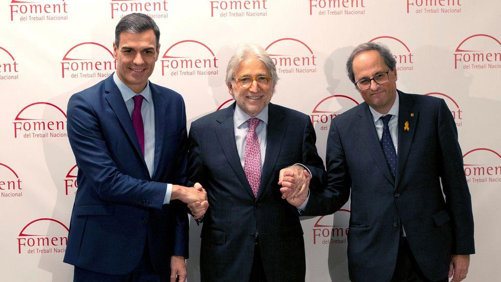 Sánchez reclama aprobar los Presupuestos y alaba la autocrítica tras la reunión con Torra en Pedralbes