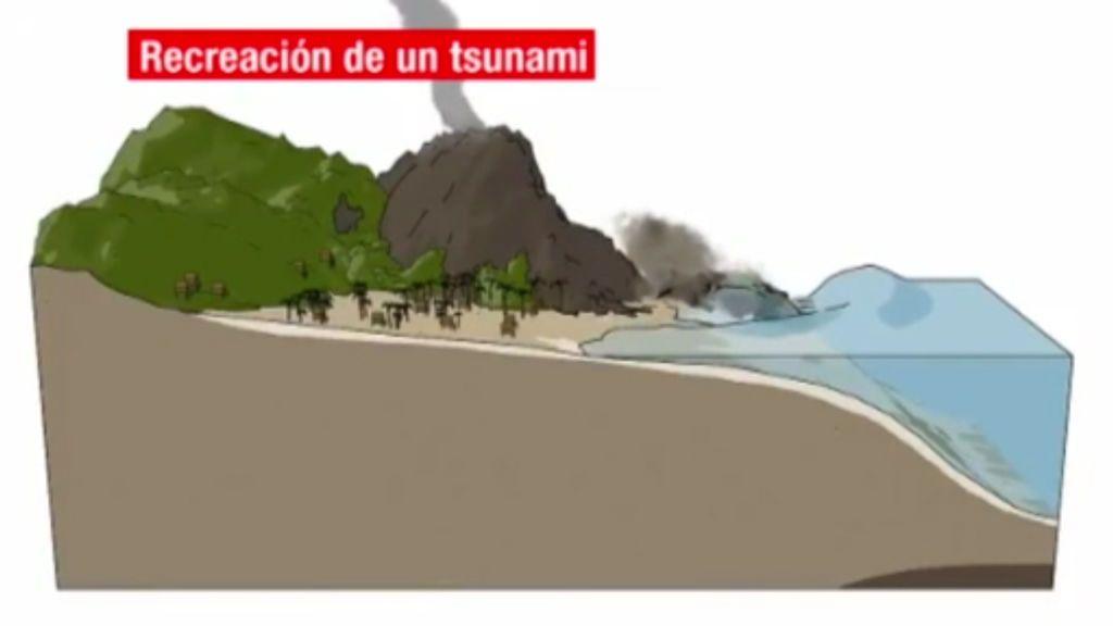Un tsunami de origen volcánico y difícil de prever