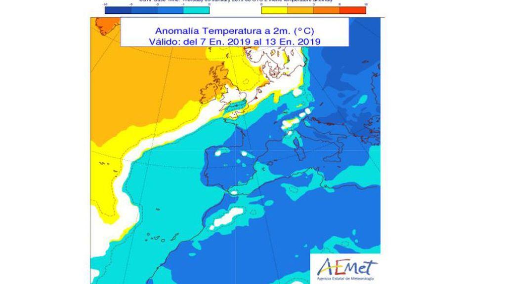 anomalia temperaturas semana q viene