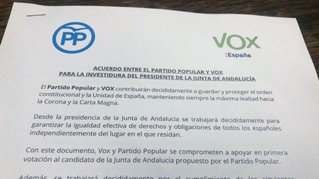 Los puntos del acuerdo PP y Vox para la investidura de Juanma Moreno