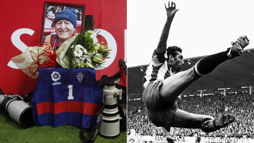 El emotivo homenaje de los fotógrafos del Sporting a Ubaldo Puche, autor de la foto más recordada de Quini