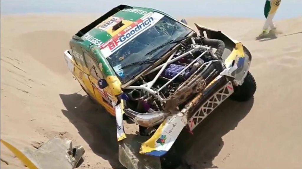"""Jesús Calleja abandona el Dakar con el coche destrozado: """"Se acabó el rally para mí"""""""