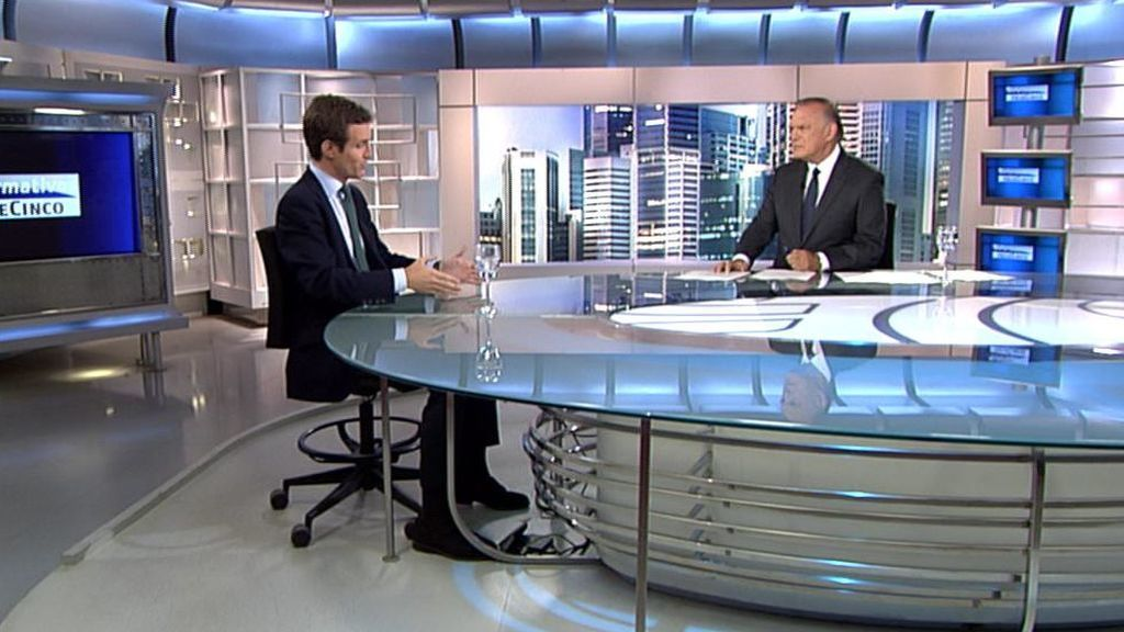 Pablo Casado, entrevistado por Pedro Piqueras esta noche en Informativos Telecinco 21h