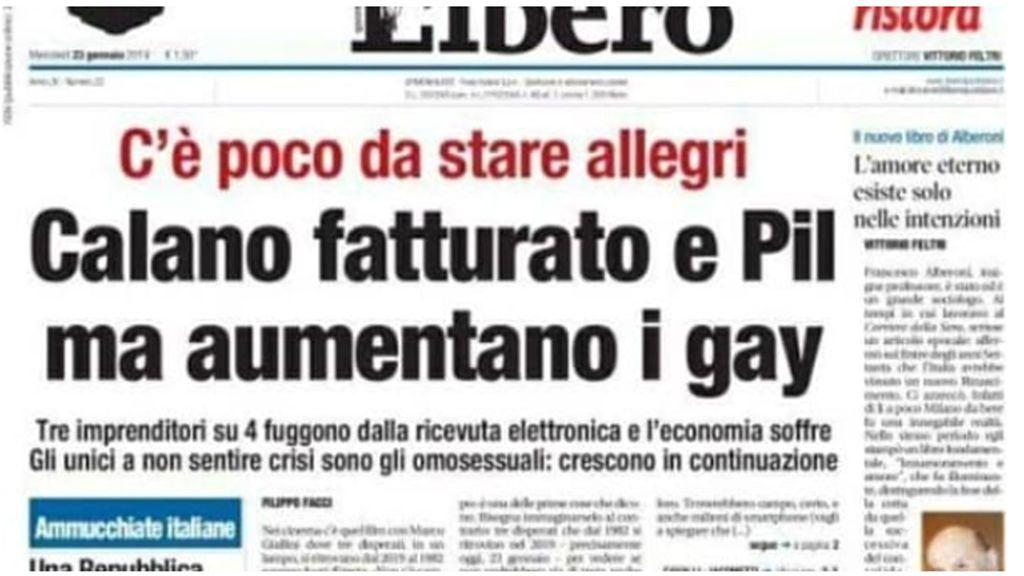 """El titular homófobo de un periódico italiano desata la polémica:  """"Baja la facturación y el PIB, pero aumentan los gais"""""""