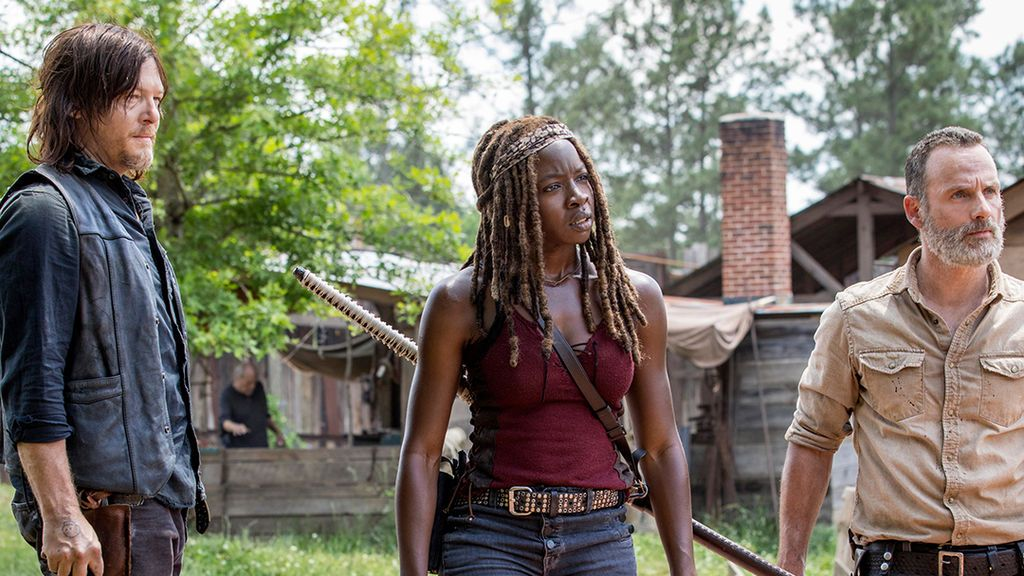 Norman Reedus, Danai Gurira y Andrew Lincoln, en la novena temporada de 'The Walking dead'.