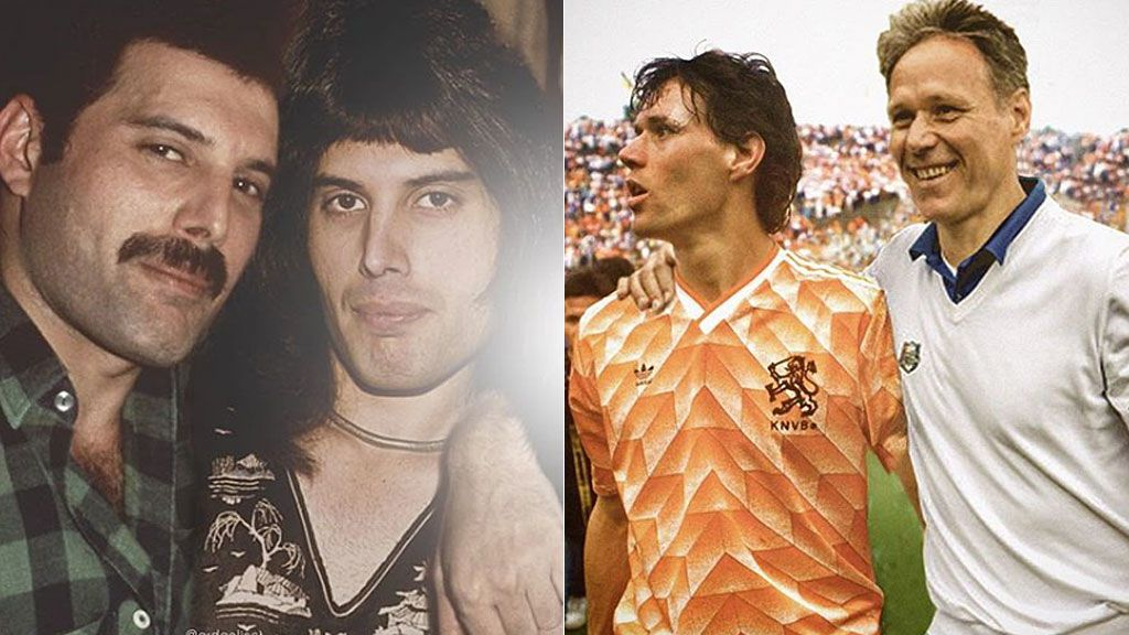 Koeman, Van Basten o Freddy Mercury: las fotos de los famosos con su 'yo' del pasado que son moda en las redes