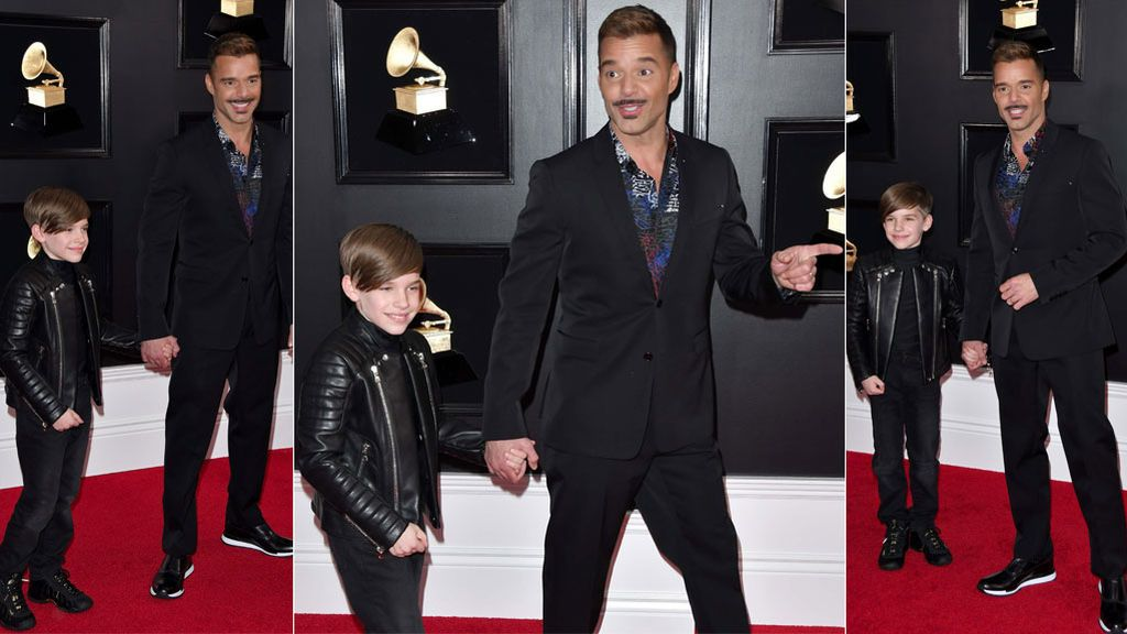 """Ricky Martin y su hijo Matteo, dúo de photocall: el posado más """"cool"""" de los Grammy, al detalle"""