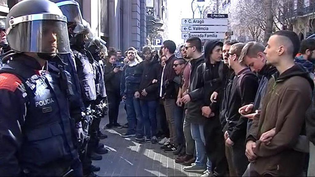Protestas en Cataluña durante el comienzo del juicio del procés