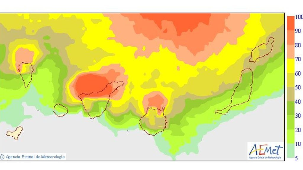 probab precipitacion Canarias viernes