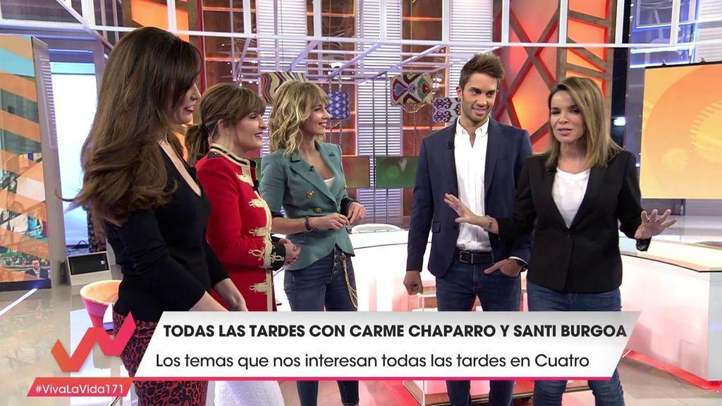 Carme Chaparro y Santi Burgoa le enseñan a Emma los secretos del plató de 'Cuatro al día'