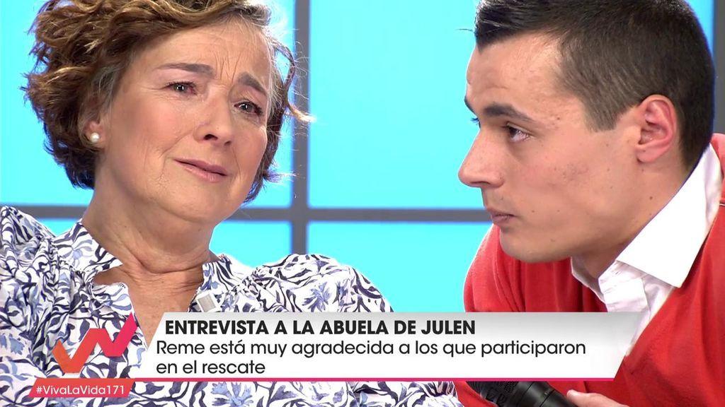 """Nuestro reportero se reencuentra con la abuela de Julen: """"Qué valiente eres"""""""