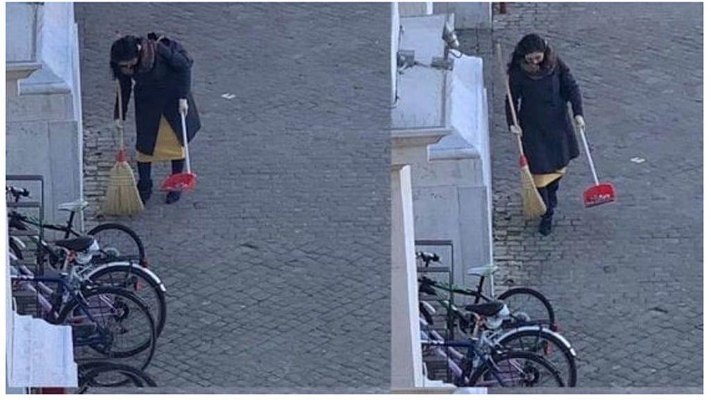 Caza en una ciudad italiana a la barrendera anónima