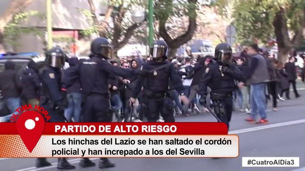 Graves incidentes entre aficionados del Sevilla y la Lazio antes del partido