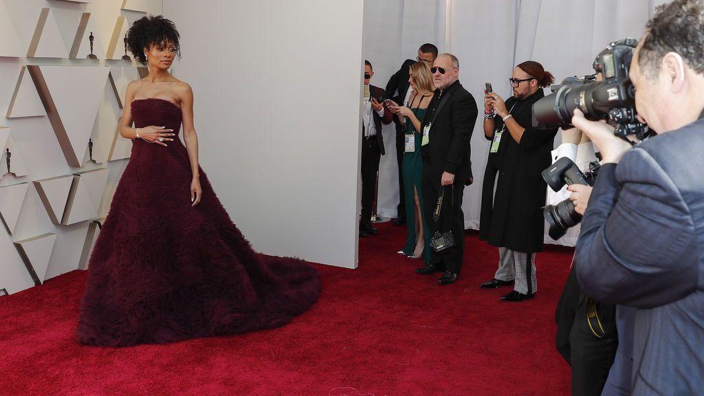 Zuri Hall posa en la alfombra roja de los Premios Oscars 2019