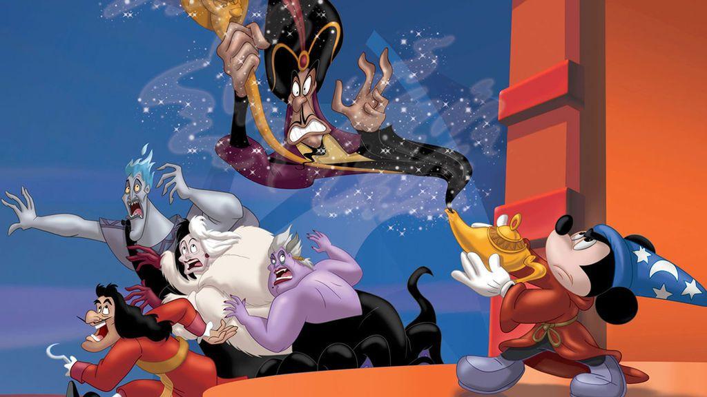 Capitán Garfio, Hades, Cruella de Vil, Úrsula y Jafar, villanos de las películas de animación de Disney, junto a Mickey Mouse, en la película 'El club de los villanos'.
