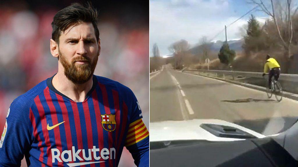 El ejemplo perfecto de Leo Messi de cómo adelantar correctamente a un ciclista con el coche