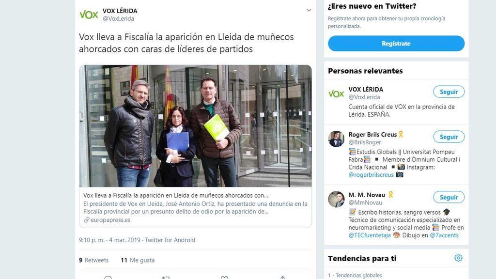 Vox calificó en sus cuentas en las Redes a Ortiz Cambray como el presidente en Lleida
