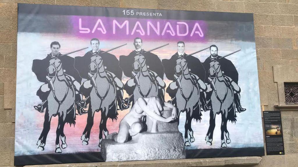 El cartel de la polémica en Olot: comparan a la Manada con los líderes de los partidos políticos
