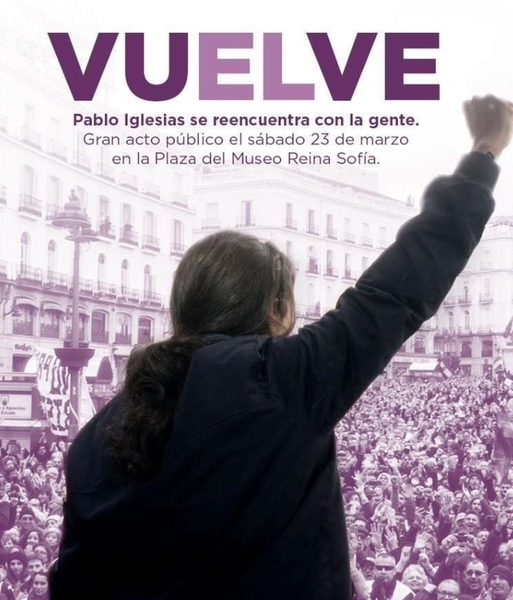 En vísperas del 8-M, Podemos tropieza con el cartel tachado de 'machista' de Pablo Iglesias