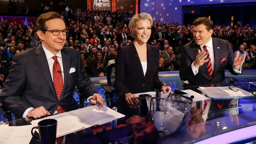 Chris Wallace, Megyn Kelly y Bret Baier, en el debate republicano de las primarias de 2016.