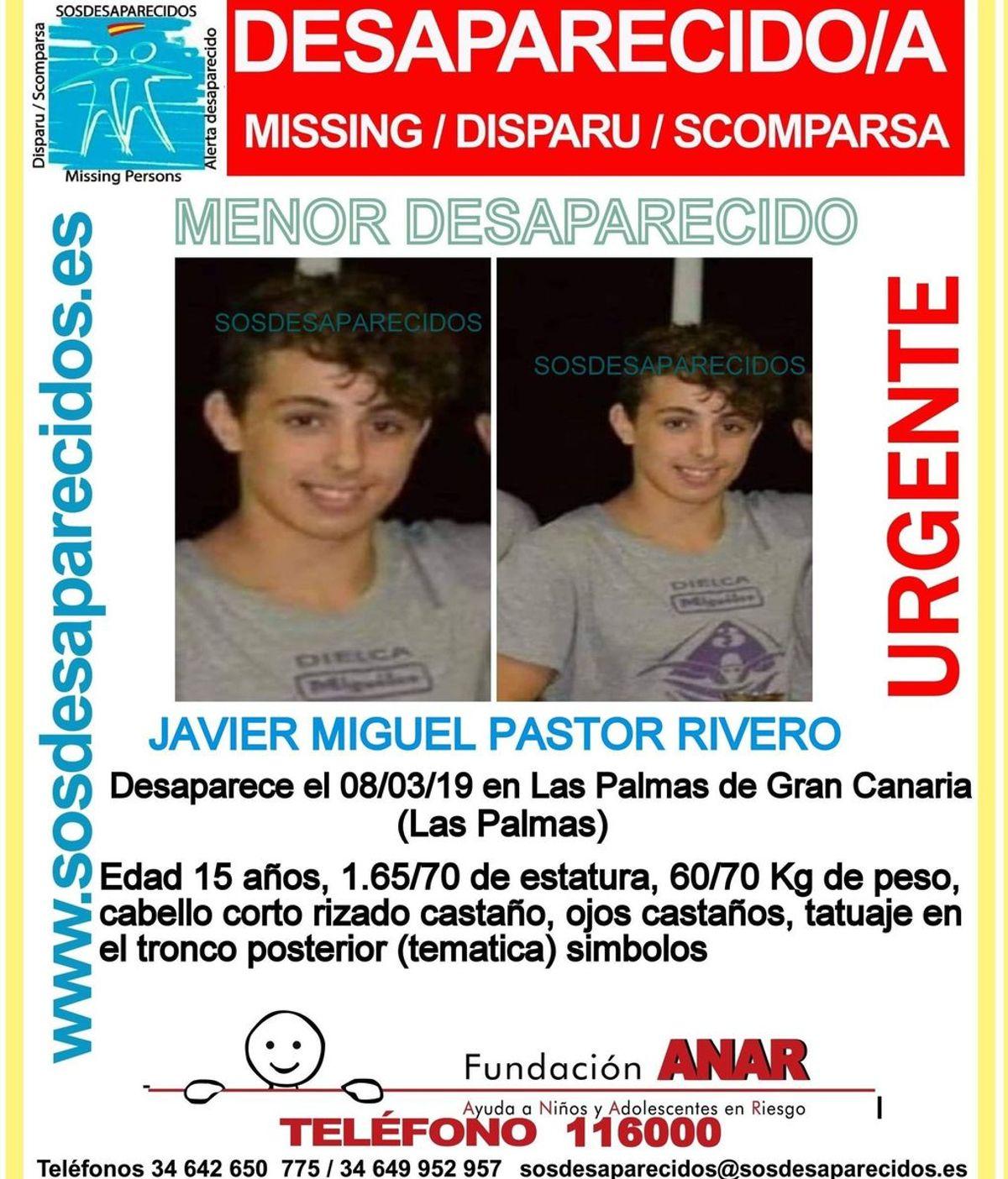 Buscan a Javier Miguel Pastor Rivero, un menor desaparecido en Las Palmas de Gran Canaria