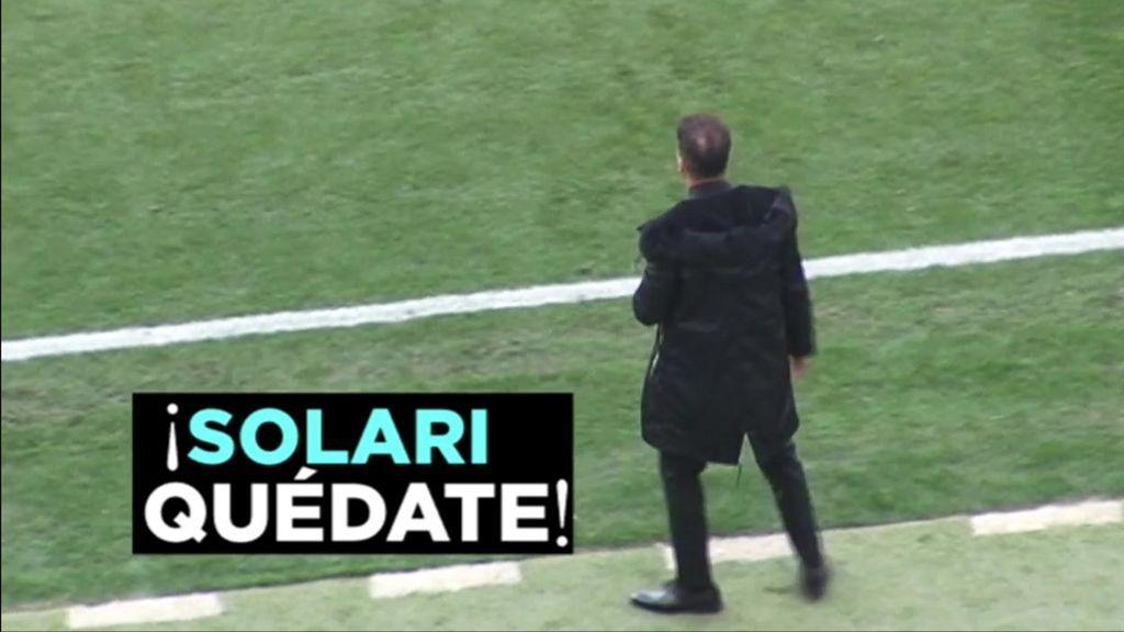 Los gritos de 'Solari quédate' en el Camp Nou y el Wanda Metropolitano