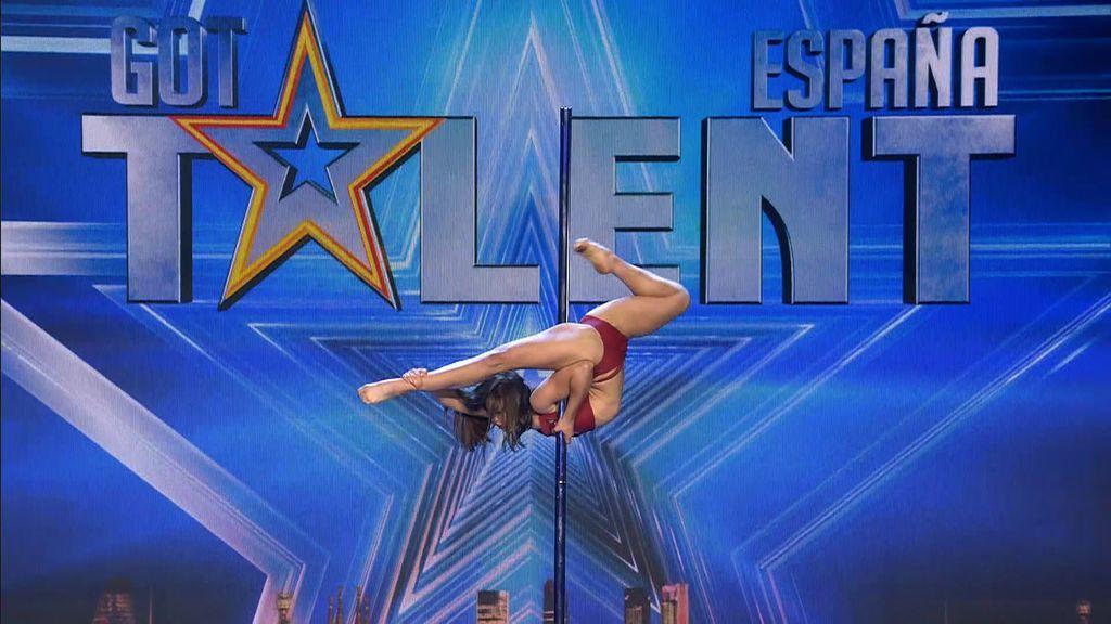 """Risto califica el número de pole dance de Polina como """"el mejor de 'Got Talent"""" y Paz intenta imitarla"""
