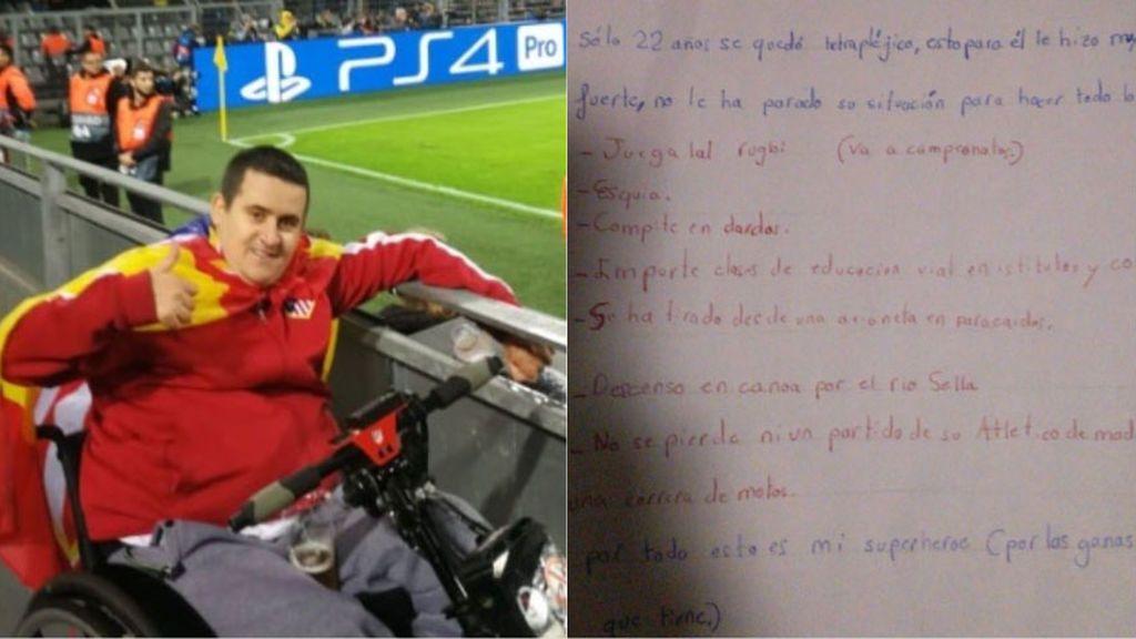 """La emocionante carta de un niño a su padrino tetrapléjico y aficionado del Atleti: """"Es mi superhéroe"""""""