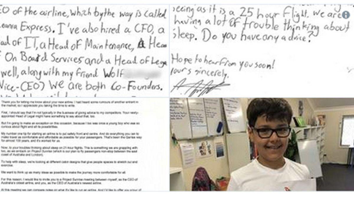 Un niño de diez años pide consejo a una aerolínea para montar su negocio y esta le contesta