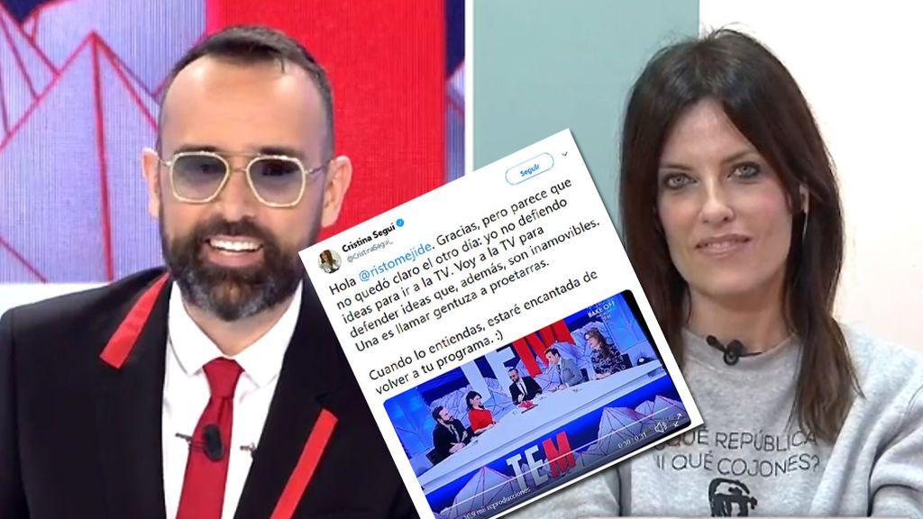 """Cristina Seguí responde a Risto Mejide: """"Yo no defiendo ideas para ir a la TV, voy a la tele para defender ideas y una de ellas es llamar gentuza a proetarras"""""""