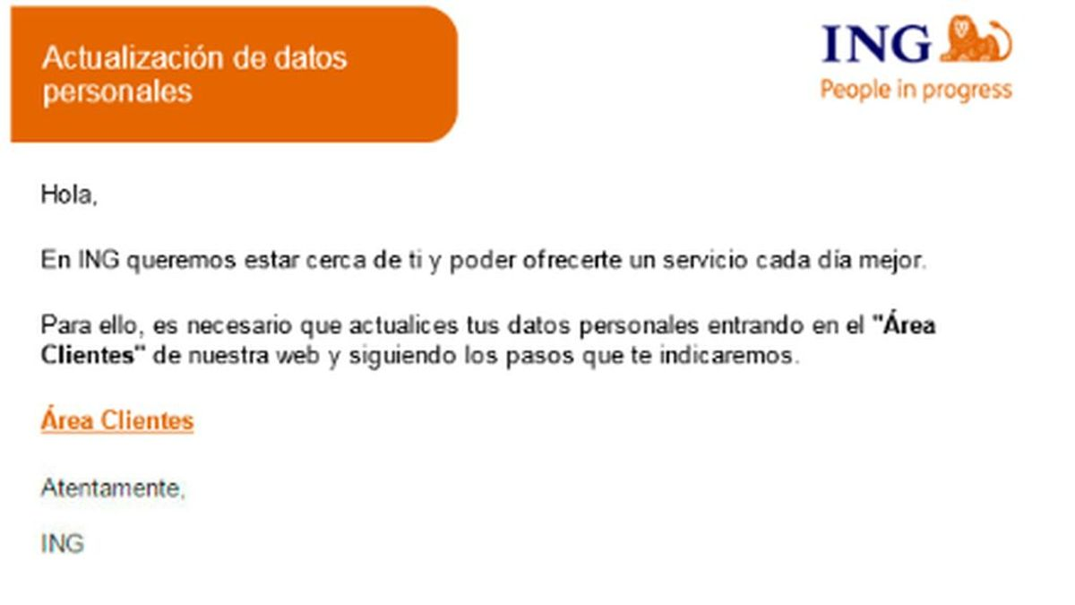 La Guardia Civil alerta de una estafa de phishing usando la marca ING