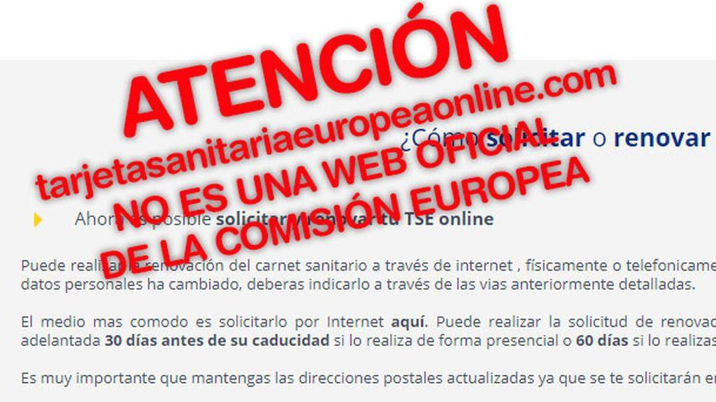Facua alerta de que una web usa el logo de la CE para cobrar 59 euros por renovar la tarjeta sanitaria