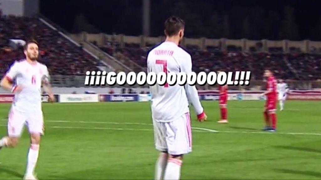 El grito de Morata para celebrar su primer gol con España tras casi dos años y medio después