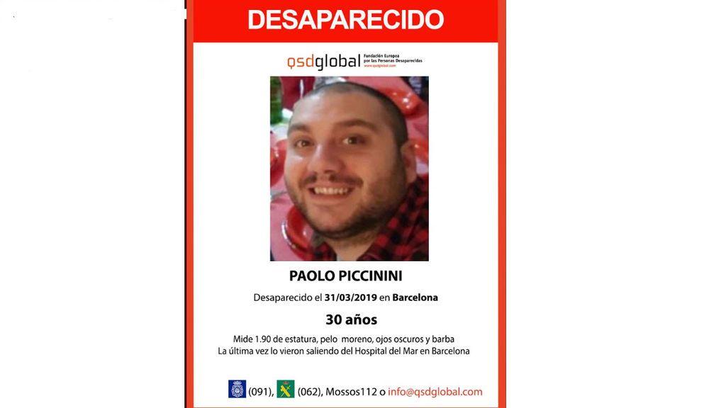 Buscan a Paolo Piccinini, desaparecido desde hace tres días en Barcelona