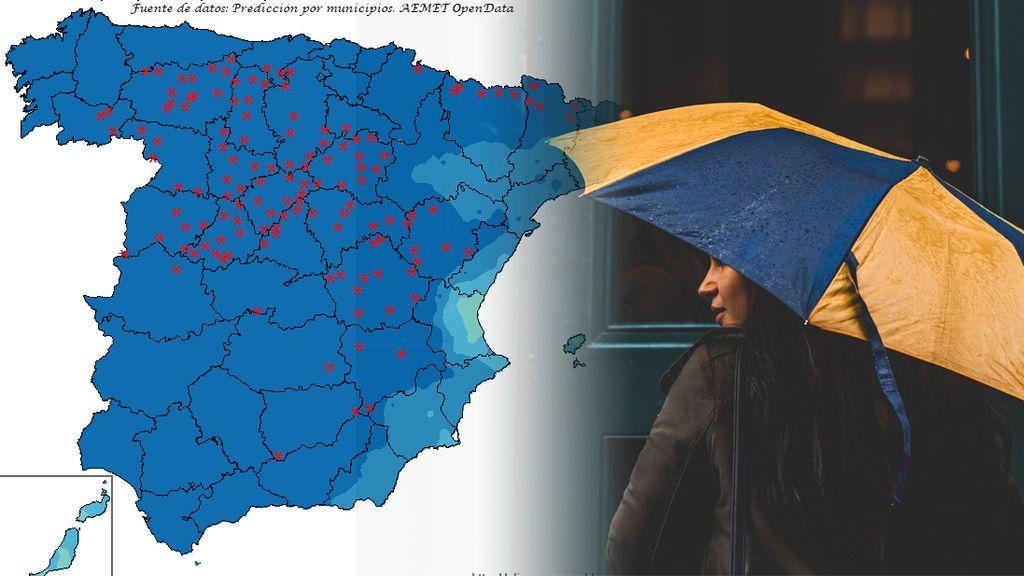 Saca el paraguas: dónde va a llover más el fin de semana