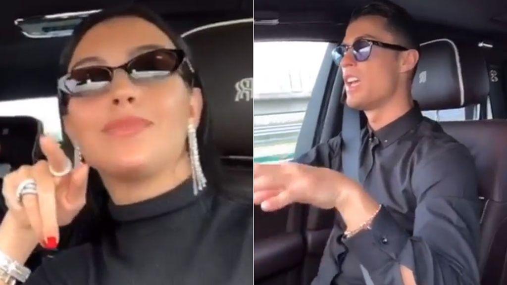 Cristiano Ronaldo, su hijo y Georgina, se lo pasan en grande cantando en el coche
