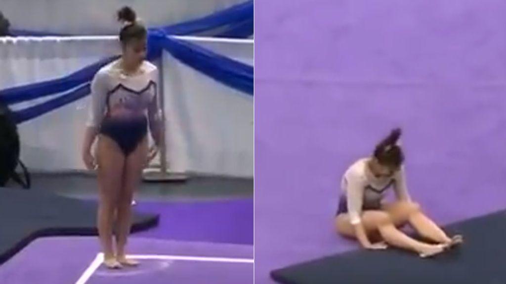 El brutal momento en el que una gimnasta se rompe las dos piernas a la vez al caer de una pirueta