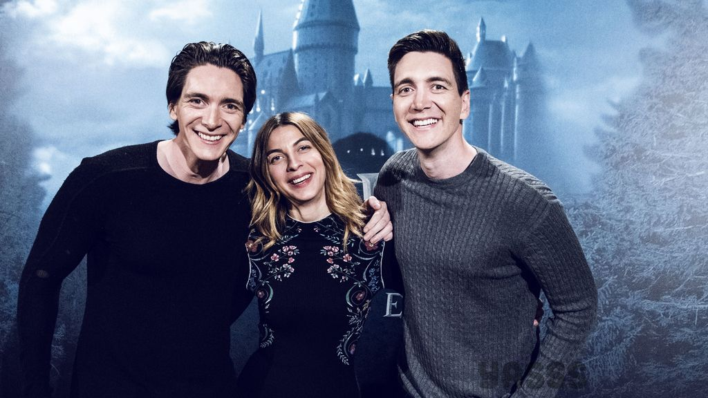 Los hermanos Phelps y Natalia Tena, de Harry Potter, en foto