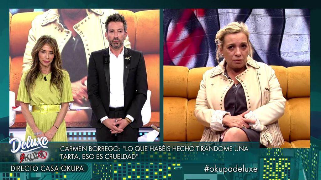 """El enfado de Carmen Borrego tras el tartazo de Payasín: """"Se me ha hecho una crueldad"""""""