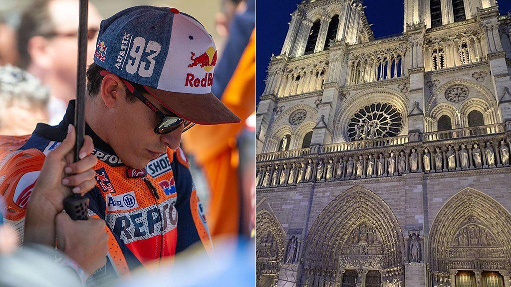 """El mensaje de Marc Márquez por el incendio de Notre Dame: """"Impactado con las imágenes"""""""