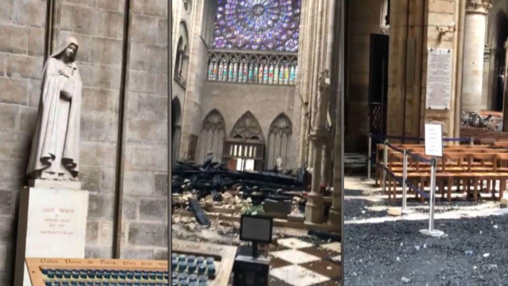 Los destrozos en Notre Dame, vistos desde el interior