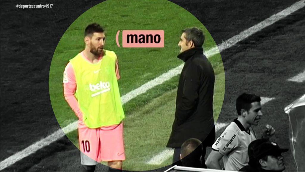 """""""Es mano"""", Messi acudió al monitor del VAR para ver el penalti de Tomás Pina"""
