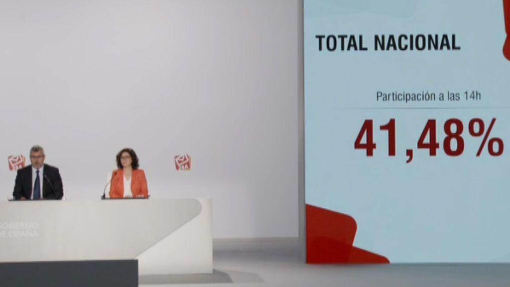 Aumenta un 4,61% la participación en España a las dos de la tarde con respecto a 2016