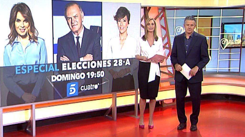 Sigue la jornada electoral del 28-A en un programa simultáneo en Telecinco y Cuatro a las 19:50h