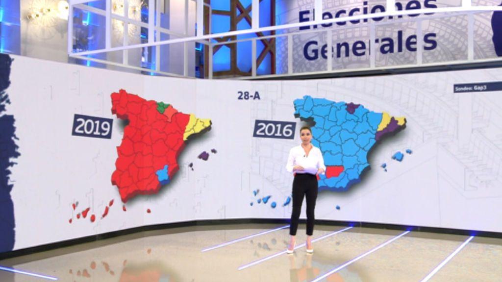¿Cómo ha cambiado el mapa político de España entre 2016 y 2019?