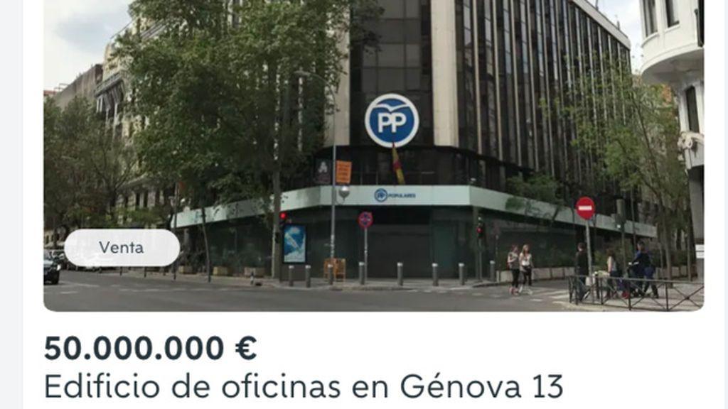 La sede del PP en venta